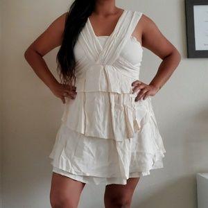 J.O.A Los Angeles Ruffle cream dress NWT Size L